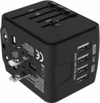 Universal Travel Adapter 4 USB Charger $17.24 (25% off) + Delivery ($0 with Prime / $39 Spend) @ Amazon AU