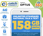 Catch Connect 158GB Data | 12 Months Expiry | Unlimited Talk & Text $185.04 (Club Catch and UNiDAYS Required) @ Catch
