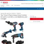 Bosch Blue Professional Brushless 4 Piece 18V Kit with 2x 6.0ah Batteries & Charger - $699 @ Bunnings