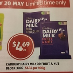 Cadbury Dairy Milk or Fruit & Nut 350g $4.69 @ ALDI