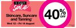 40% off Skincare, Suncare & Tanning @ Priceline