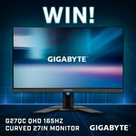 "Win 1 of 2 Gigabyte AORUS CV27Q 165Hz Curved 27"" Monitors Worth $529 from PC Case Gear"