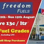 [QLD] $0.13/L off All Grades of Fuel (up to 120L; Excluding LPG) Plus 5% off Shop Purchases @ Freedom Fuels