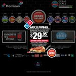 Domino's - Extra Value Range $5.95, Chef's Best $7, Traditional $6.95 + Others