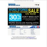 Word Bookstore - 30% off All Instore Stock - Closing down All Stores