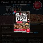 Domino's Any 3 Pizzas from $22.95 Pick up / $31.95 Delivered