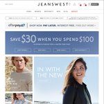 Jeans West Spend $100 Get $30 off