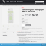 Osmer Recycled Newspaper Lead Pencils 2x Box of 20 + Free Eraser & Pencil Sharpener - $11.75 + Free Delivery - The Office Shoppe