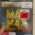 Mad Max Fury Road (4K Movie Disc) $2 @ EB Games