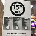 15% off iTunes Gift Cards ($30, $50, $100), Max 10 Cards Per Customer until 13 May @ Coles Express