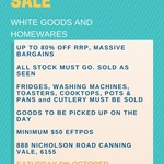 [WA] Liquidation Sale All goods up to 80% off RRP Sat 6 Oct 10am-1pm AWST @ 888 Nicholson Rd, Canning Vale