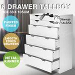 6 Chest of Drawers Tallboy Dresser Wooden Storage Organiser $170.99 (Free Delivery in NSW Region) @ auspointsauction via eBay