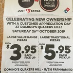 [NSW] Value Pizza $3.95, Traditional Pizza $5.95 (Pick up) @ Domino's Quakers Hill