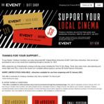 Event Cinemas $8 Original or $20 Gold Class (Sold Out) Movie eVouchers (CineBuzz Members)