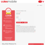 Coles Mobile $120 (Usually $150) - 365 Days | 120GB Data | Unlimited National & Intl Call & Text to 15 Countries | Data Rollover