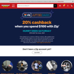 [Zip] 20% Cashback (Capped at $50) When You Spend $100 with ZIP @ Supercheap Auto