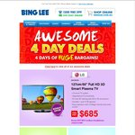 "LG 50"" FHD 3D Plasma TV $685, Samsung Network Colour Laser Printer $159 @ Bing Lee"