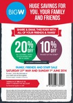 BIGW Family and Friends Sale Extra 10-20% off - Starts 31st May