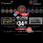 Any 3 Pizzas from $28.95 Delivered @ Domino's