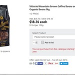 1kg of Vittoria Organic / Mountain Grown Coffee Beans for $18.35 (Save $18.35) @ Coles