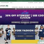 Lacoste - Selected Shoes up to 60% off, 20% off Sitewide, Free Delivery @ $150+