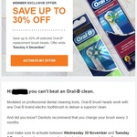 Save up to 30% on Oral-B Toothbrush Replacement Heads at Woolworths