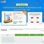 Free - EaseUS Partition Master Professional V10.8 (Save $39.95) (Facebook, Twitter, Google Plus or LinkedIn Required)