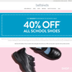 40-50% off All School Shoes eg. 50% off Harrison Indiana Senior T-Bar (Brown) $62.49 @ Betts/Kids (In-Store or $10 Delivery)