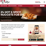24 Hot & Spicy Nuggets $10, Variety Burger Box $27.95 @ KFC