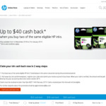 Up to $40 Cashback When You Buy Two of The Same Eligible HP Inks @ HP Online Store