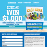 Instantly Win 1 of 20 Prizes of $1,000 Cash from Frucor [Purchase 2x Participating Drinks - V Energy, Ribena, Upngo, Lucozade]