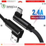 QC 3.0 Double Elbow USB Data Cable,one per account (USB C, Micro USB or Lightning) US $0.74 (~A $1.05) Delivered @ AliExpress