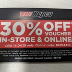 30% off in-Store and Online @ Repco