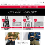 50% off RRP Storewide + Buy 2 Items and Get a Further 20% off, Buy 3 Items and Get a Further 30% off @ GUESS