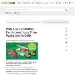 Win 1 of 10 Mother Earth Lunchbox Prize Packs Worth $40 Each from Healthy Food Guide / Nextmedia