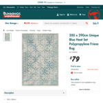 Blue Polypropylene Frieze Rug 200x290cm $79 @ Bunnings (In-Store Only)