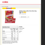 ½ Price - Skittles Fruits Lollies Party Share Bag (12x Fun Size Bags) 180g $2.50 @ Coles