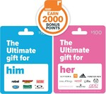 2000 Points on $100 Ultimate for Him, Ultimate Her, Ultimate Active, Binge, Good Food or Beauty & Spa Gift Cards @ Woolworths