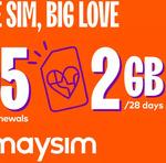 6x 28-Day amaysim Renewals of 2GB Mobile Plan $6.97 @ Groupon