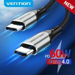 Vention USB-C to USB-C 60W PD Cable 0.5m US$0.98 ($1.36), 1m US$1.65 (~A$2.28) Delivered @ Vention Official Store AliExpress