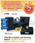 Bing Lee Online TDK Micro System with Docking Station+ BONUS Memorex Clock Radio $150 + Postage