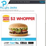 Hungry Jack's - Nationwide $2 Whoppers for PokitPal Users