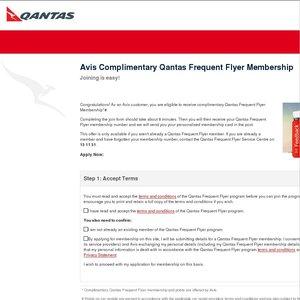 Free Qantas Frequent Flyer Membership via Avis