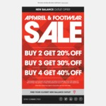 New Balance Outlet Apparel and Footwear Buy 2 get 20% off/ Buy 3 get 30% off/Buy 4 get 40% off