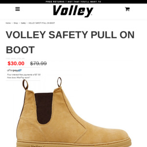 Volley Safety Pull on Boot. Was $79.99