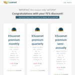 75% off XS Usenet (€22.50 for a year, ~$34.61 AUD)