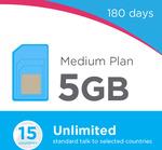 Lebara Medium Plan 180 Days – 5GB Data/Month + Unlimited Oz Talk/Text, Unlimited 15 Countries - $115
