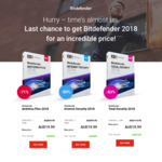Bitdefender Antivirus Plus (3 Devices) / Internet Security (3 Devices) / Total Security (5 Devices) 2018 1 Year $19.99