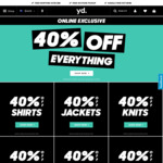 40% off Everything Online @ yd.