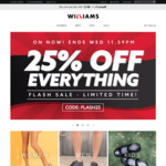 25% off Everything (Free Shipping on Orders over $65) @ Williams Shoes